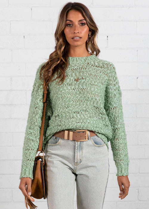 Time Flies Sweater - Light Sage