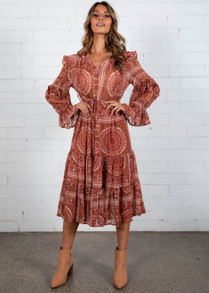 Heloise Midi Dress - Rust Paisley