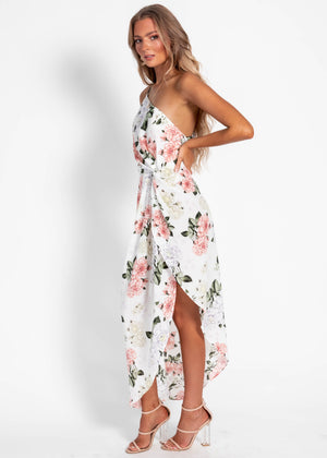 Priya One Shoulder Midi Dress - White Floral