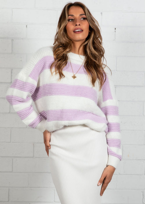 Run With Me Sweater - Purple Stripe
