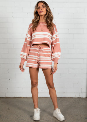 Adriana Stripe Knit Set - Rose Stripe