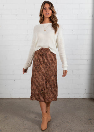 Like An Animal Midi Skirt - Tan Cheetah