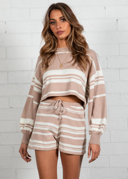 Adriana Stripe Knit Set - Beige Stripe