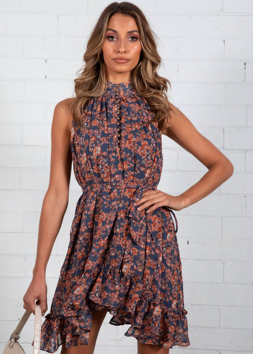 Sweet Impact Swing Dress - Ink Floral