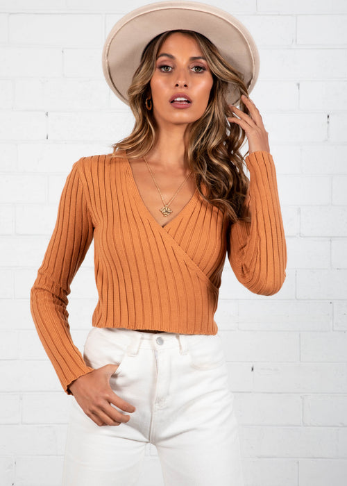 Get Lucky Crop Knit Top - Tan