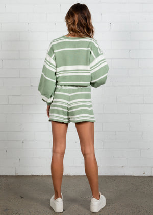 Adriana Stripe Knit Set - Mint Stripe