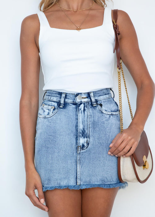 Strangers Denim Skirt - Light Blue