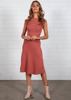Libby Knit Midi Dress - Rose