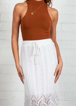 Pippi Knit Midi Skirt - Off White