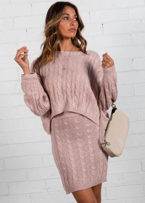 Night In Knit Set - Blush