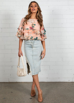 In My Mind Crop Blouse - Blush Floral