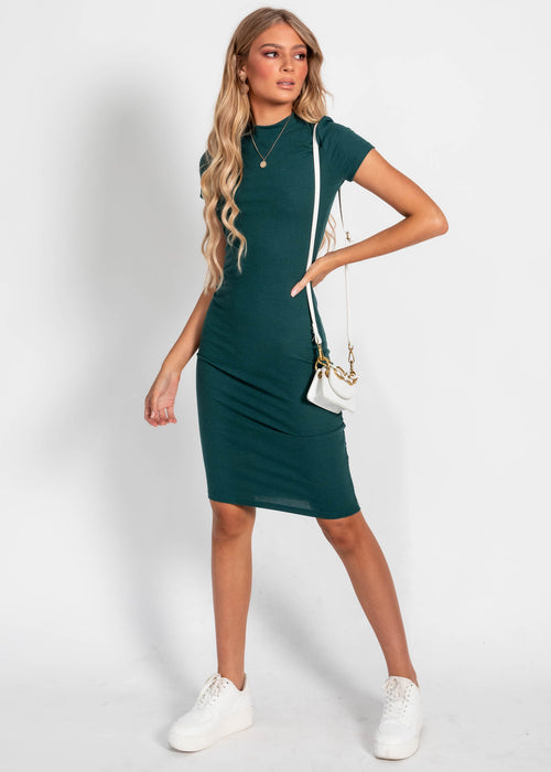 Corey Rib Midi Dress - Emerald