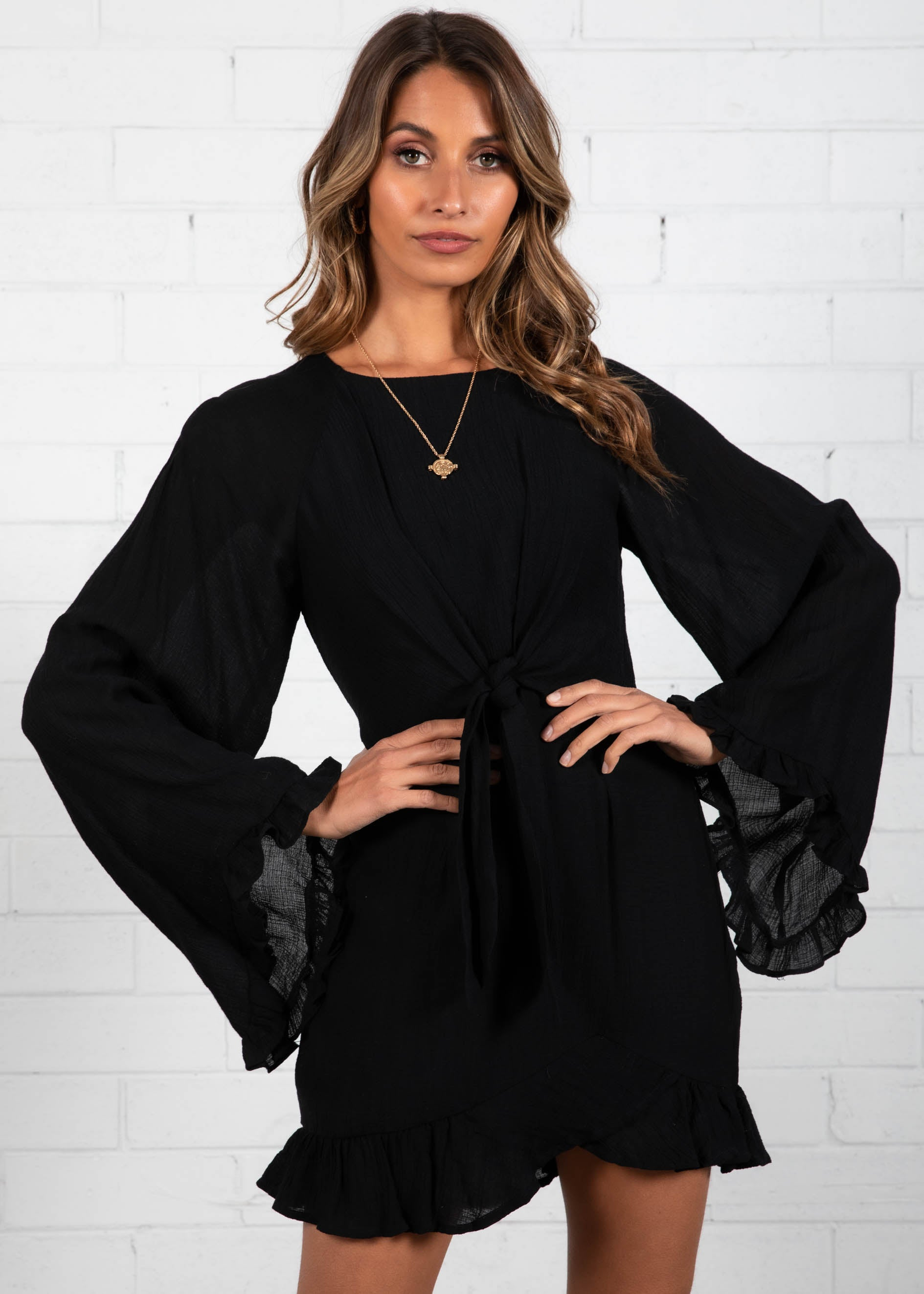 In The Groove Tie Dress - Black