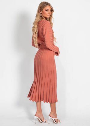 Cece Knit Skirt - Coral