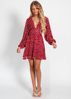 Take On Me Dress - Wine Floral