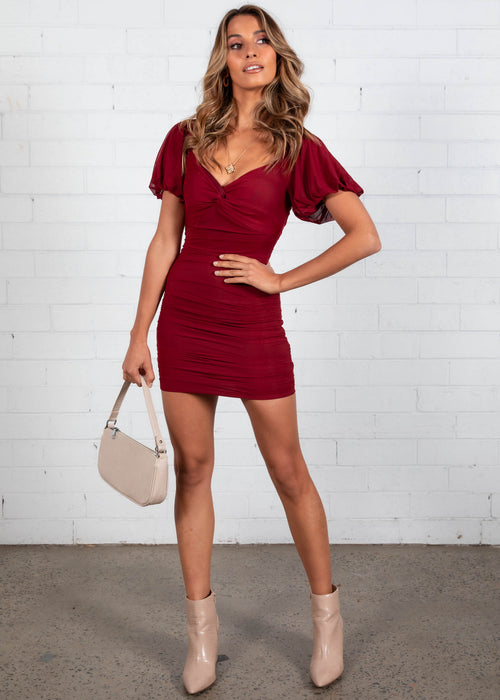 Mexican Sky Mini Dress - Burgundy