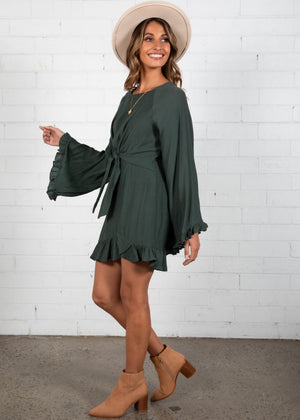 In The Groove Tie Dress - Dark Khaki