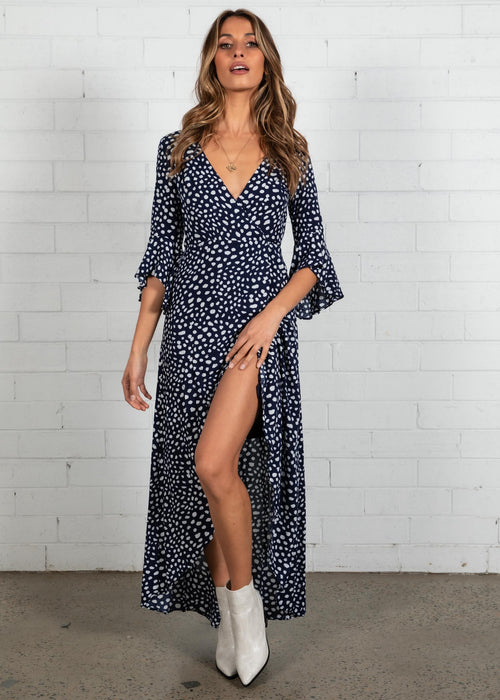 Noda Wrap Maxi Dress - Navy Leopard