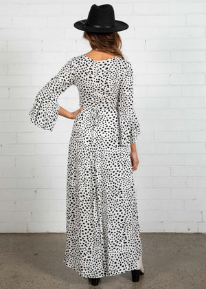 Noda Wrap Maxi Dress - Snow Leopard