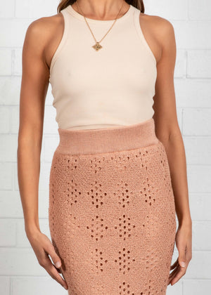 Reeda Knit Midi Skirt - Peach