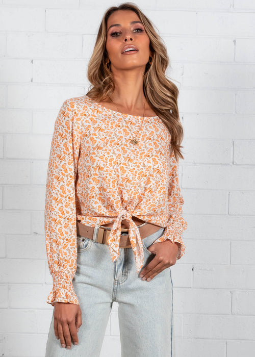 Mac Tie Blouse - Peach Floral