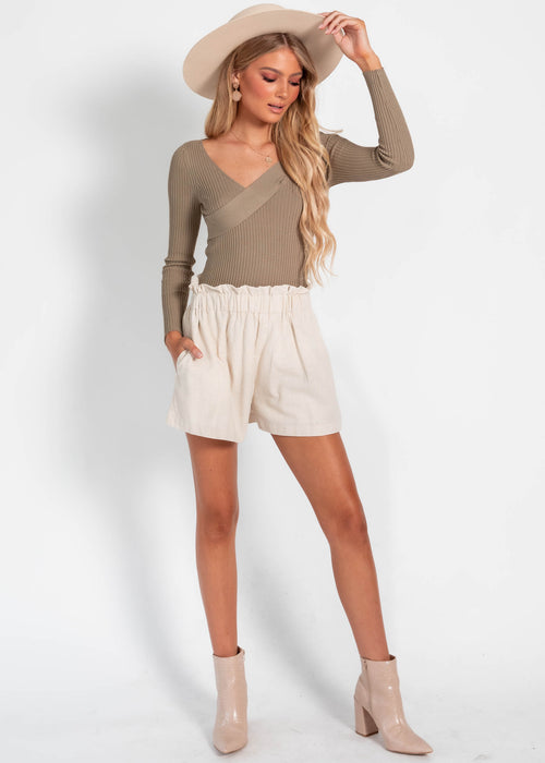 Tallow Rib Knit Top - Khaki