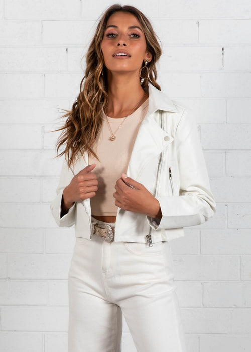 Jocey Biker Jacket - White