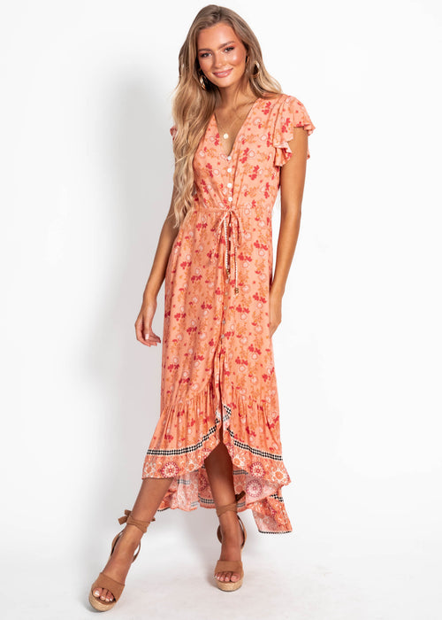 Nova Hi-Lo Midi Dress - Coral Dream