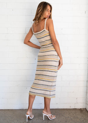 Lovers Holiday Knit Midi Dress - Beige Stripe
