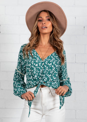Montague Tie Blouse - Emerald Floral