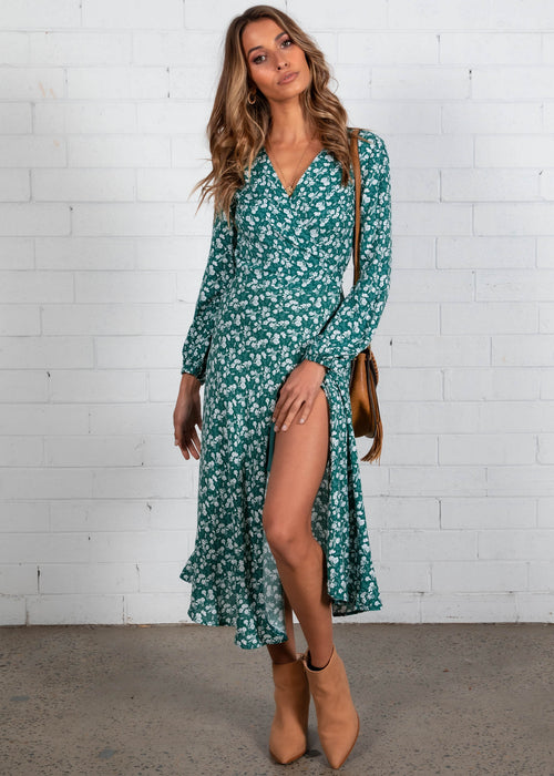 My Love Wrap Midi Dress - Emerald Floral