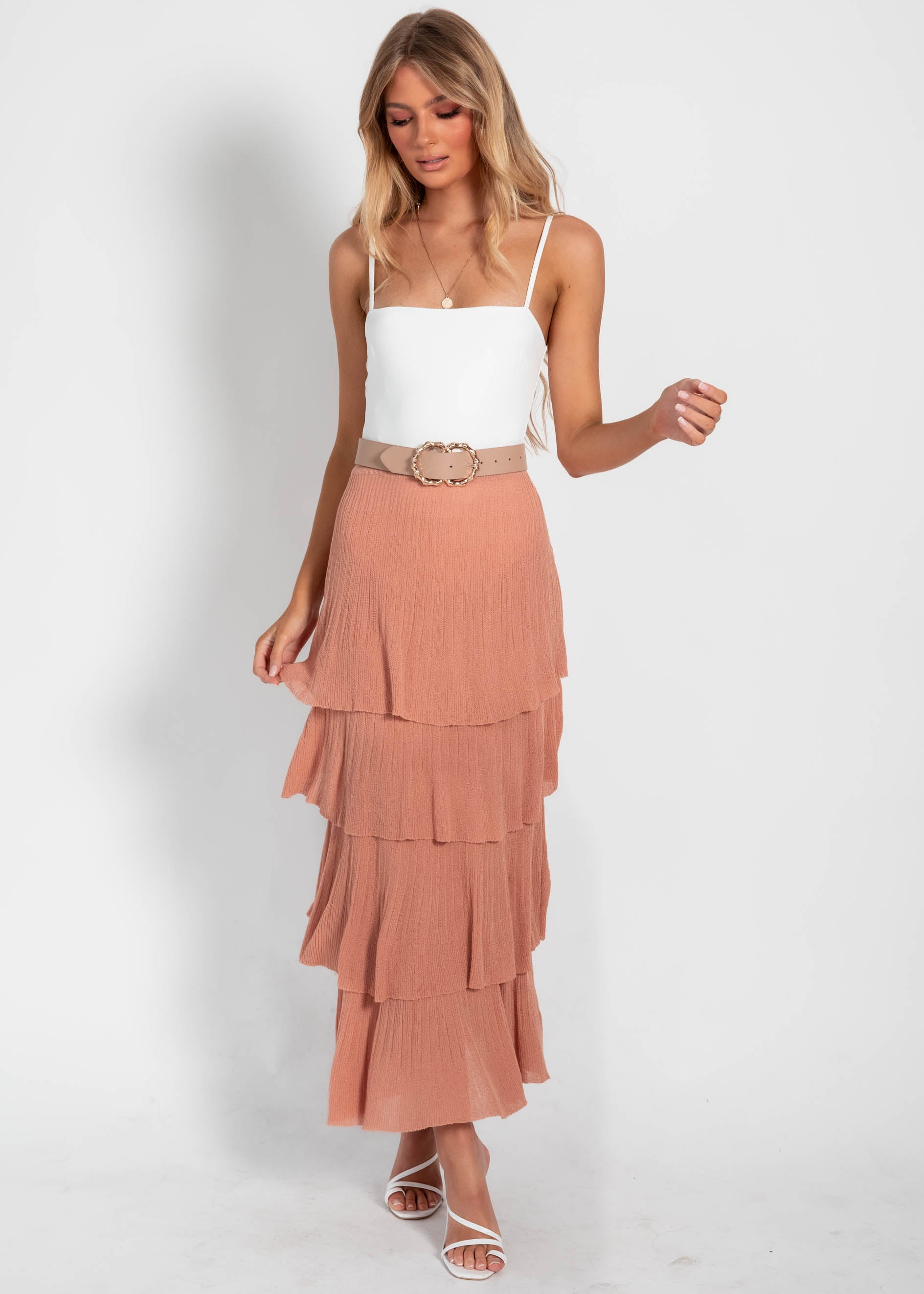 Disillusion Frill Knit Skirt - Rose