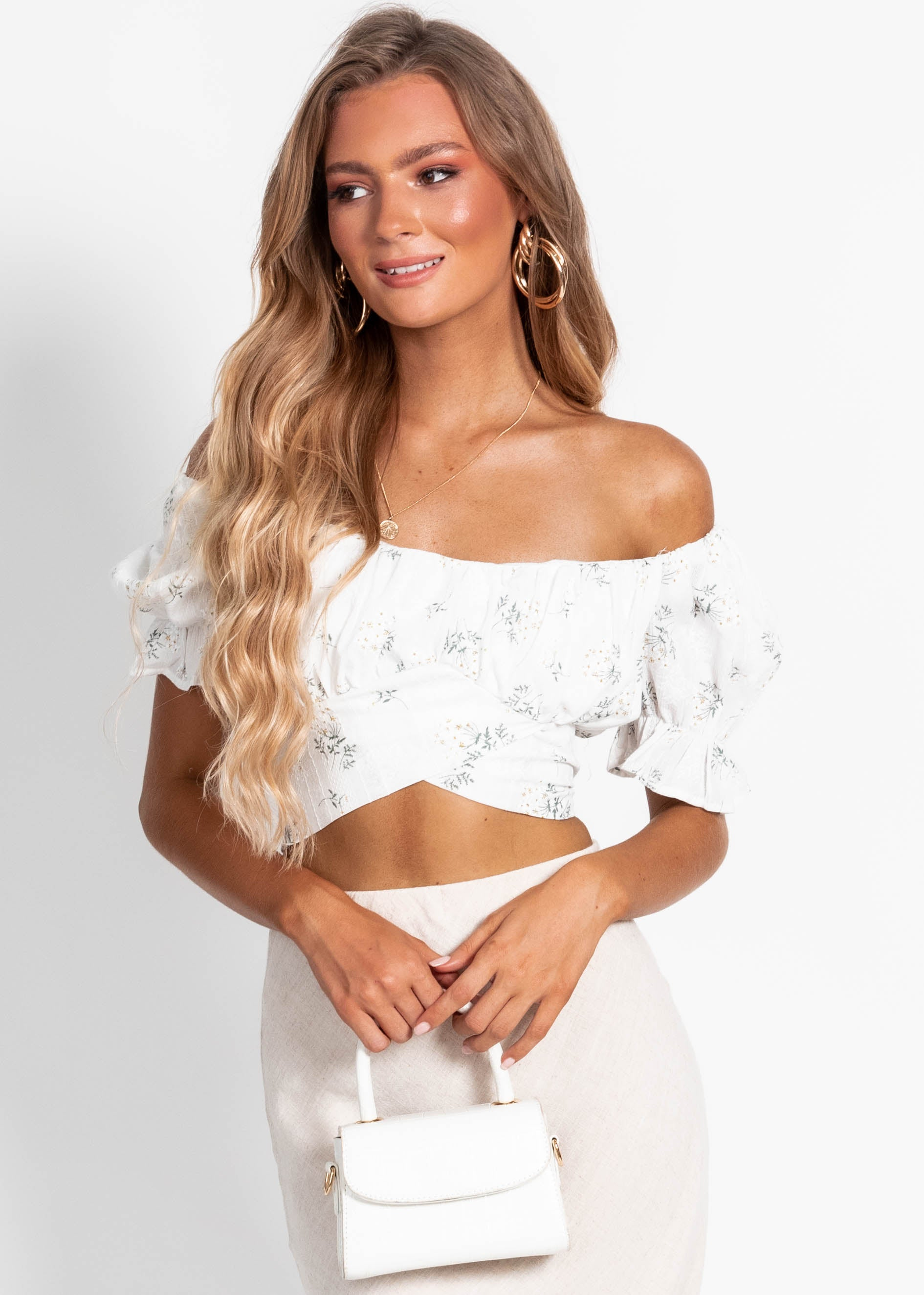 Wild Card Cropped Blouse - White Floral
