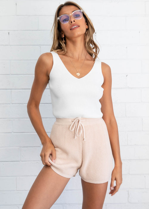 Rose Valley Knit Cami - White