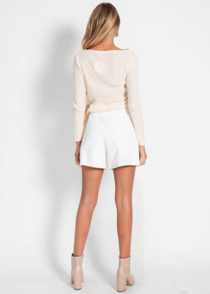 Monty Tie Knit Top - Cream