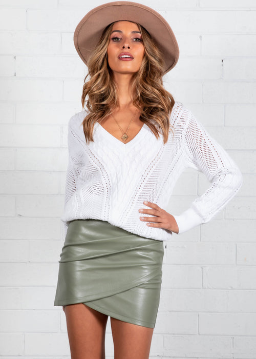 Galore PU Skirt - Khaki