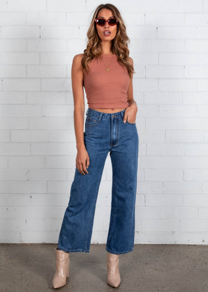 Reagan Wide Leg Jeans - Mid Blue