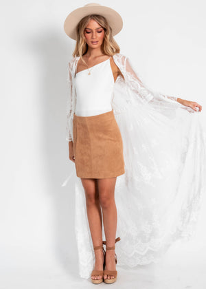 Flutter Tie Lace Cape - White