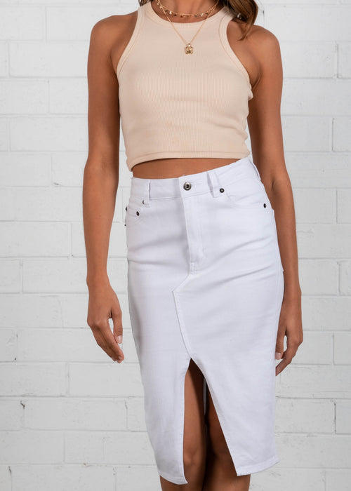 Happy Hour Denim Midi Skirt - White