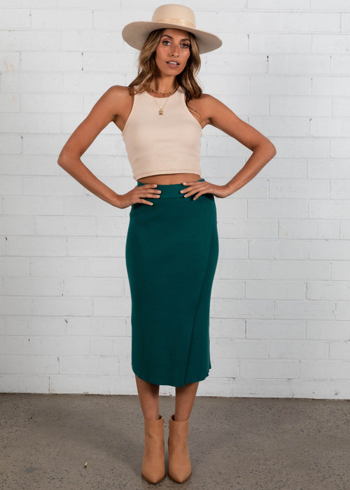 Lucci Knit Skirt - Emerald