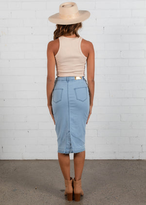 Bergamo Denim Midi Skirt - Ice Blue