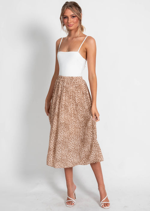 Animal Instinct Midi Skirt - Blush Leopard