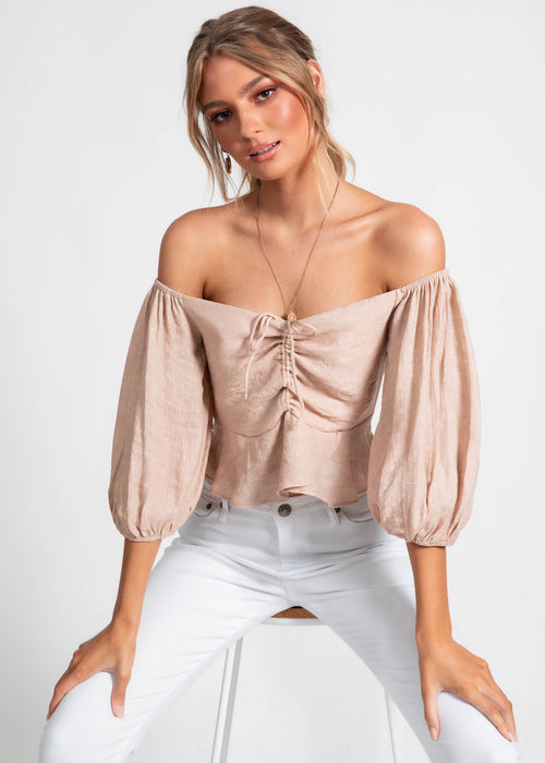 Milah Off Shoulder Top - Nude