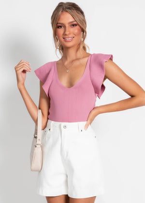 Heart Drive Knit Top - Pink
