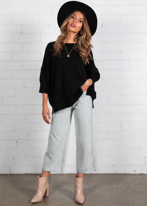 Wanna Be Knit Top - Black