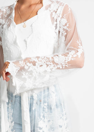 Slow Dancing Lace Cape - White