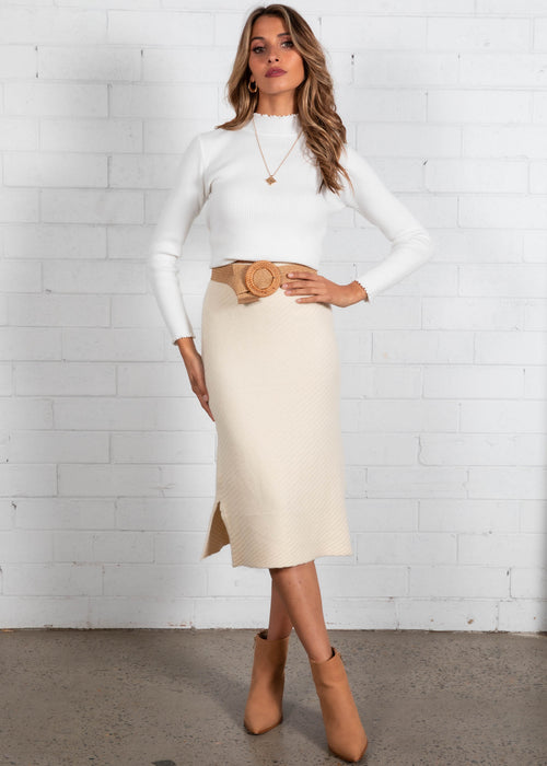 Ravenna Knit Midi Skirt - Cream