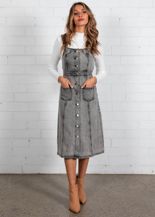 Downtown Love Denim Pinafore Midi Dress - Faded Denim