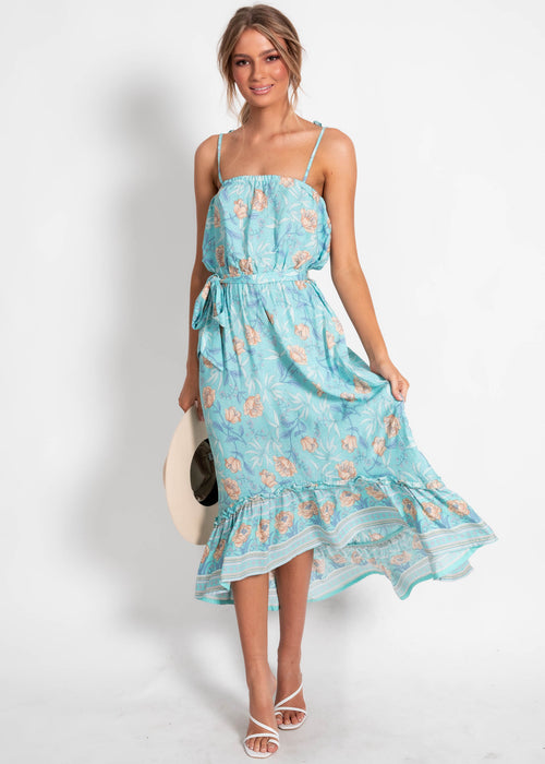 Nathalia Hi-Lo Dress - Sky Floral