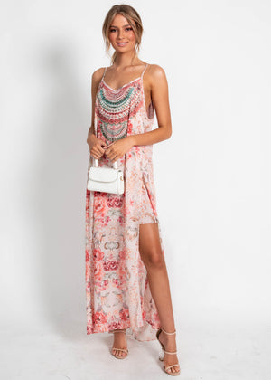 Lost Lotus Chiffon Maxi Dress - Peach Floral